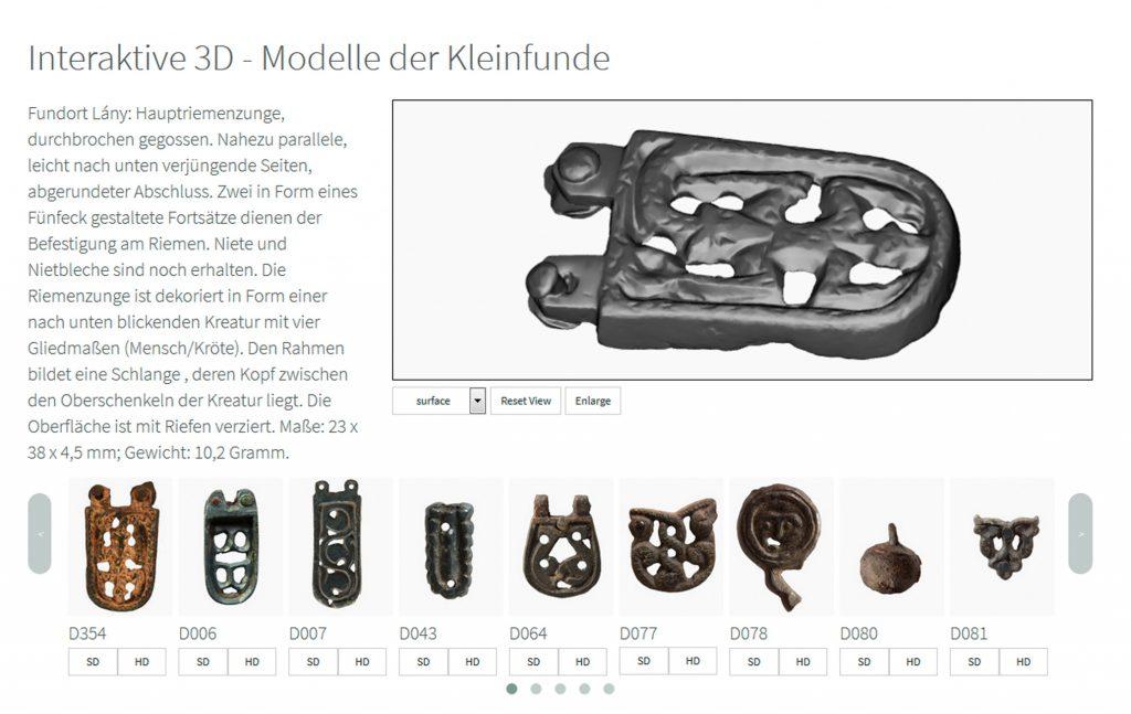 Abb. 2: 3D-Viewer der Projektwebsite mit interaktiven 3D-Modellen der Buntmetallfunde, http://homepage.univie.ac.at/stefan.eichert/gkn/ (3. November 2017), Entwurf: Stefan Eichert